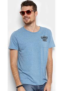 Camiseta Colcci Summer Vibes Com Bolso Masculina - Masculino-Azul
