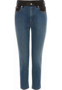 Alexander Mcqueen Calça Jeans Skinny Com Cós Contrastante - Azul