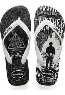 Chinelo Havaianas Harry Potter Masculino - Masculino-Branco+Preto