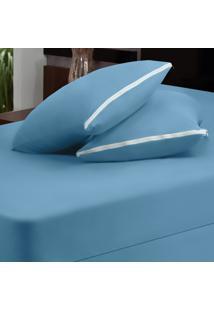 Capa Dourados Enxovais Para Colchão Azul Solteiro 02 Peças - Malha 100% Algodão