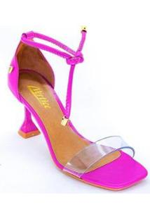 Sandália Vértice Frente Transparência Salto Flare Feminina - Feminino-Pink