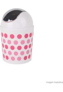 Lixeira De Polipropileno Bolinhas Branca E Rosa Coisas E Coisinhas