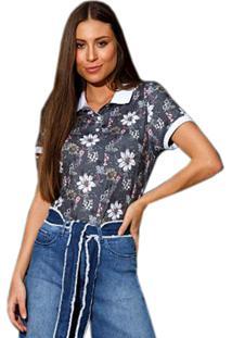 Camisa Polo Seeder Feminina Floral Cinza Chumbo - Kanui