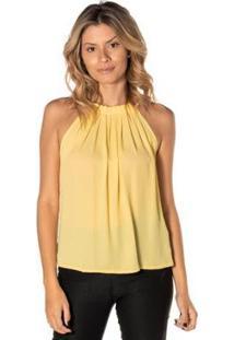 Blusa Dwz Gola Plissada Decote Quadrado Feminina - Feminino-Amarelo