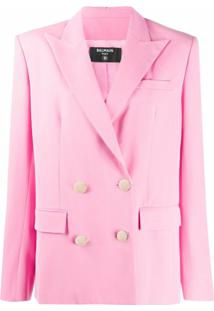Balmain Oversized Button Front Serge Jacket - Rosa
