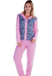 Pijama Victory Feminino Inverno Longo Aberto - Feminino-Rosa