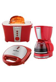 Kit Britania Cozinha Completa Com 1 Torradeira Tostapane, 1 Cafeteira E 1 Grill E Sanduicheira Crome Vermelho E Inox - Bkt14V