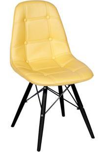 Cadeira Eames Botonê- Amarela & Madeira Preta- 83X44Or Design