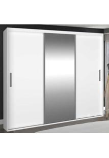 Guarda-Roupa Casal 3 Portas De Correr Com 1 Espelho 100% Mdf 1971E1 Branco - Foscarini