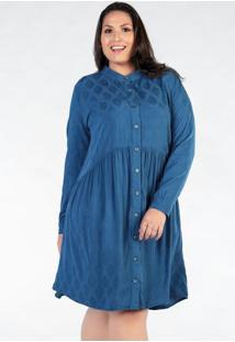 Vestido Plus Size Azul Com Botões