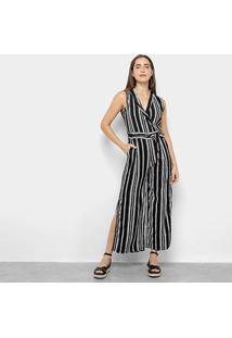 Macacão Lily Fashion Listrado Amarração Fenda Feminino - Feminino-Preto