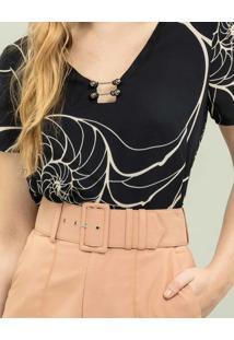 Shorts Cintura Alta Com Cinto Bege Damasco - Lez A Lez