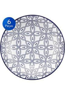 Conjunto De Pratos Fundos 6 Peças Floreal Náutico - Oxford Branco/Azul
