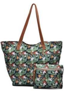 Bolsa Sacola Com Necessaire De Tecido Impermeável Com Ziper Multi Flor Zabath Feminina - Feminino-Verde