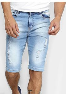 Bermuda Jeans Oxmo Estonada Rasgos Masculina - Masculino