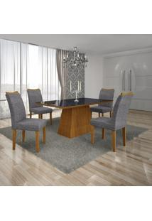 Conjunto Sala De Jantar Mesa Tampo Mdf/Vidro Preto 4 Cadeiras Pampulha Leifer Imbuia Mel/Linho
