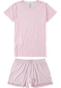 Pijama Rosa Floral Com Renda