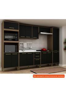 Cozinha Compacta Vitória 13 Pt 3 Gv Preta E Avelã