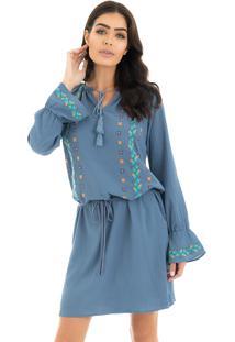 2d7aca5a5e9f Dafiti. Vestido Azul Mandi Lã Bordado Gypsy Mandinne La