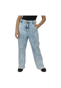 Calça Wide Leg Feminina Ecxo Azul Barra Poida