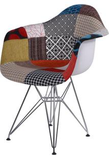Cadeira Eames Com Braco Base Cromada Patchwork - 36399 - Sun House
