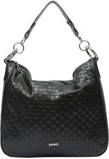 Bolsa Em Couro Texturizada Com Argolas- Preta- 33X37Iã³Dice