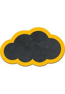 Quadro Decorativo Lousa De Giz Nuvem- Preto & Amarelo