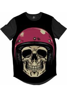 Camiseta Bsc Longline Caveira Capacete Motoqueiro 63 Sublimada Preta