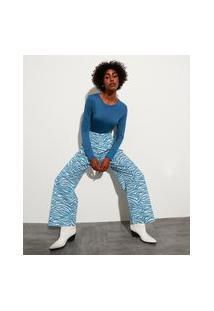 Calça Alfaiataria Pantalona Estampada Animal Print De Zebra Cintura Super Alta Mindset Azul