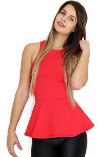 Blusa Dress Code Moda Peplum Vermelha