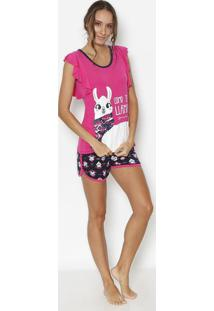 "Short Doll ""Como Te Lhama""- Pink & Azul Marinho- Pukpuket"