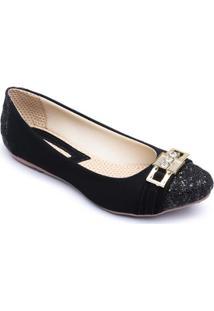 Sapatilha Top Franca Shoes Veludo Feminina - Feminino-Preto