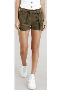 Short Clochard Feminino Estampado Camuflado Verde Militar