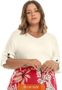 Blusa Visco Tricot Rovitex Plus Size Bege