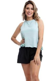 Blusa Clara Arruda Costa Laço Feminina - Feminino-Azul Claro