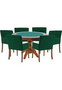 Mesa De Jogos Carteado Redonda Montreal Tampo Reversível Amêndoa Com 6 Cadeiras Vicenza Verde - Gran Belo