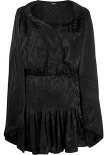 Balmain Vestido Com Aplicação De Lenço - Preto