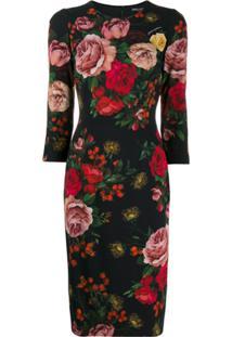 Dolce & Gabbana Rose Print Fitted Dress - Preto