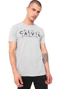 Camiseta Calvin Klein Jeans Stripes Cinza
