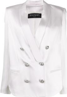 Balmain Blazer Com Cinto E Abotoamento Duplo - Branco