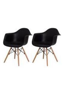 Kit 2 Cadeiras Eiffel Eames Daw C/Braco Preta Base Madeira Sala Cozinha Jantar