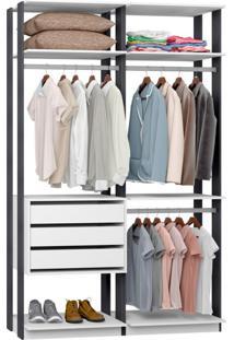 Guarda-Roupa Solteiro Modulado Clothes 3 Gv Branco E Espresso