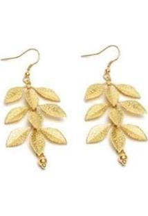 Brinco Vestopazzo Folhas Feminino - Feminino-Dourado