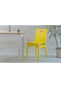 Cadeira De Madeira Para Mesa De Jantar Tucupi Laca Amarela 40X51X81Cm