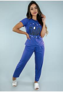 Pijama Malha Bravaa Modas Manga Curta Inverno Conforto 228 Azul Escuro