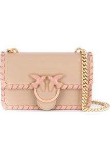 Pinko Bolsa Transversal Com Placa De Logo - Rosa