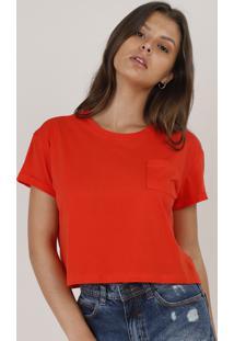 Blusa Feminina Básica Cropped Com Bolso Manga Curta Decote Redondo Laranja