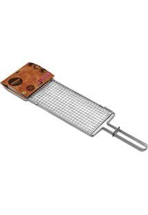 Grelha De Aço Inox 84 Cm Prata