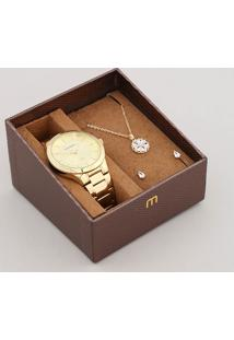 Kit De Relógio Analógico Mondaine Feminino + Brinco + Colar - 99364Lpmvde1K Dourado - Único