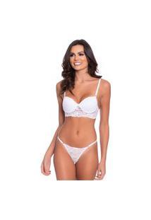 Conjunto Click Chique Sexy Rendado String Branco